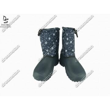 Дутики женские темно-синие снежинка БЖ14