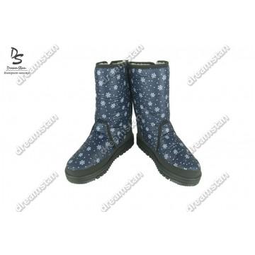Женские дутики Дж-01 синие снежинка