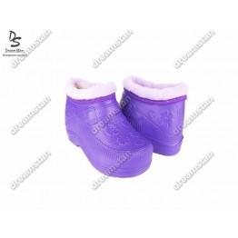 Женские галоши с мехом ГП06 фиолетовые - фото 2