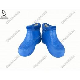 Женские галоши с мехом ГП06 голубые