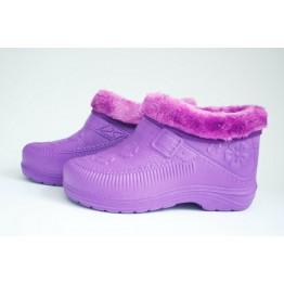 Женские галоши с мехом ГП06 фиолетовые