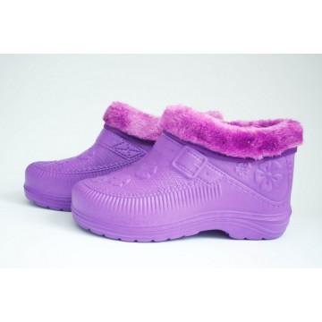 Женские галоши с мехом ГП-06 фиолетовые