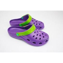 Женские шлепанцы Сабо-2 фиолет-салатовые