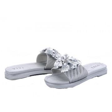 Женские шлепанцы А-203-2 серебро
