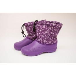 Дутики женские мех фиолетовые снежинка БЖ14