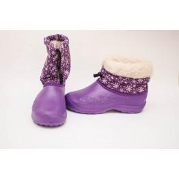 Дутики женские мех фиолетовые снежинка БЖ14 - фото 2