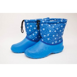 Дутики женские мех голубые снежинка БЖ14