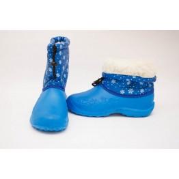 Дутики женские мех голубые снежинка БЖ14 - фото 2