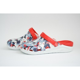 Мужские Сабо crocs-02 принт бел-син-красн