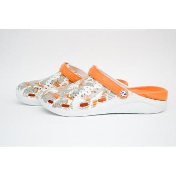 Женские Сабо crocs-02 принт бел-оранж-оранж