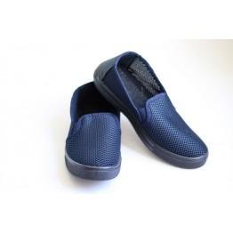 Мужские мокасины С-3 т.синий крок - фото 2